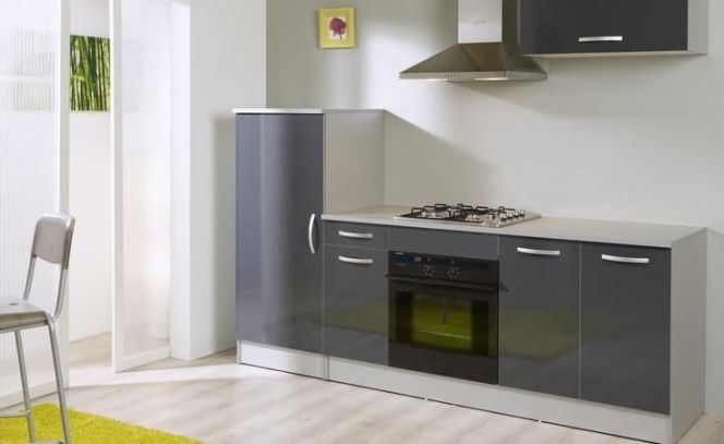 Bloc cuisine laqué moderne dans les tons gris