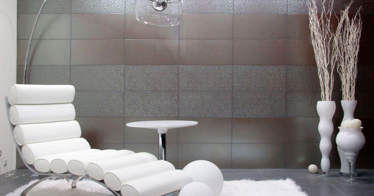 notre s lection des plus beaux carrelages muraux ce carrelage design effet m tallis donnera. Black Bedroom Furniture Sets. Home Design Ideas