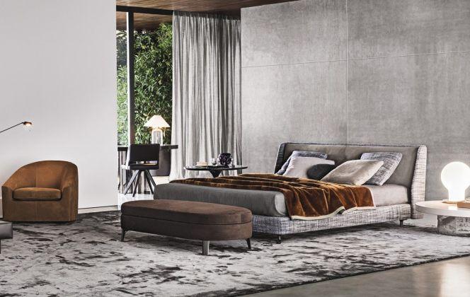 La chambre Spencer offre un design industriel travaillé et sophistiqué. © Minotti