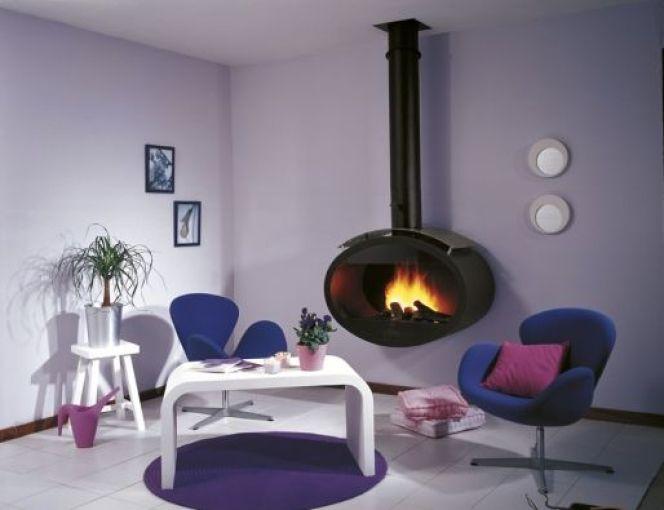 cheminee centrale design acier. Black Bedroom Furniture Sets. Home Design Ideas