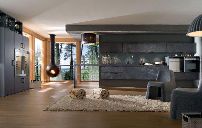 Ceramic Aster est une cuisine haut de gamme d'aspect minéral par sa forme de bloc et son opposition bois/béton. © Perene