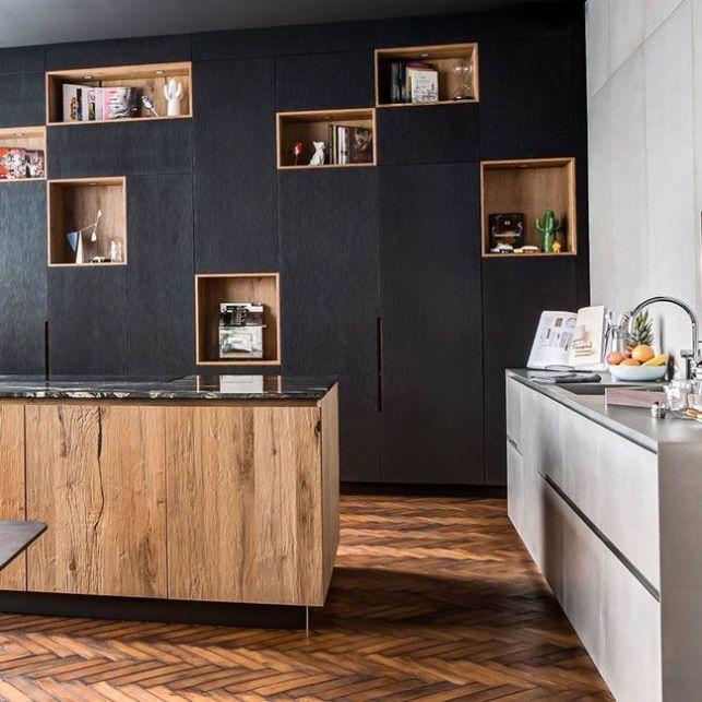Une cuisine béton, noir et bois
