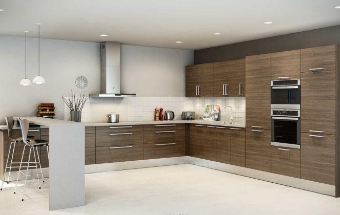 La cuisine Urban revisite les codes classiques du bois de manière épurée et raffinée, pour créer un espace à la fois pratique, moderne et convivial. © Hygena