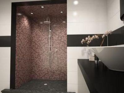 Douche à l'italienne en mosaïque