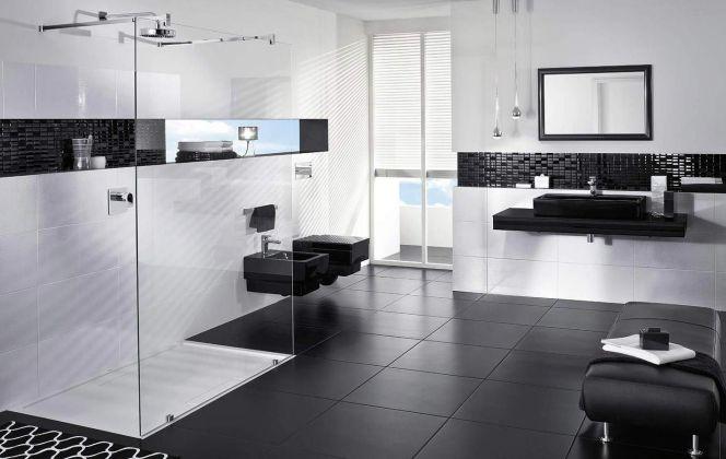 Du noir et blanc pour une salle de bains design !  © Villeroy & Boch