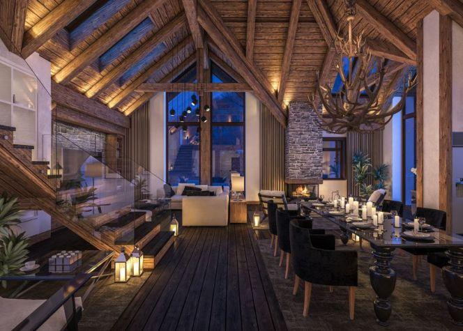 en images 5 ambiances de chalets en pleine montagne chalet tout en bois avec grande hauteur. Black Bedroom Furniture Sets. Home Design Ideas