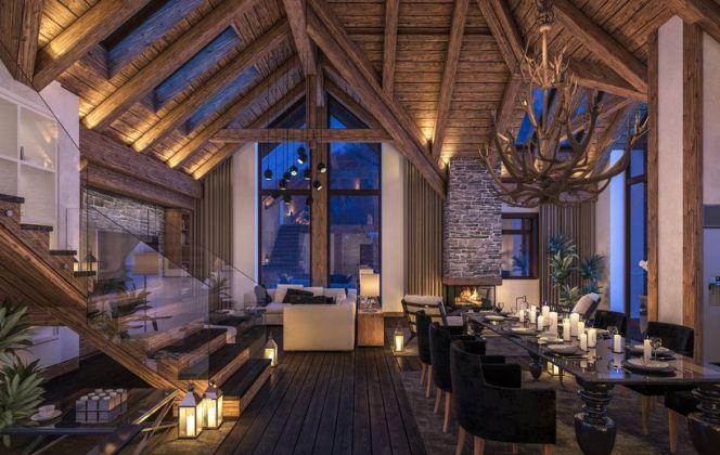Chalet tout en bois avec grande hauteur sous plafond © korisbo - Fotolia.com