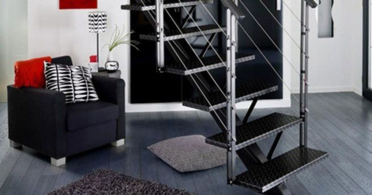 l escalier m tallique un int rieur design et moderne au. Black Bedroom Furniture Sets. Home Design Ideas