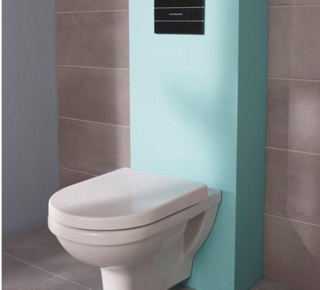 Un bâti-support de toilettes bleu turquoise