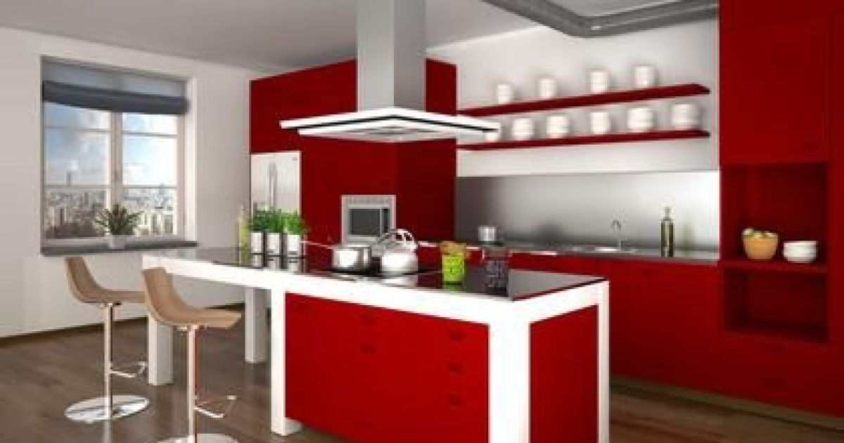 cuisine rouge ilot central avec des id es. Black Bedroom Furniture Sets. Home Design Ideas