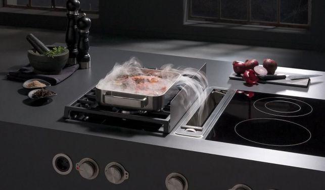 La hotte intégrée à la table de cuisson