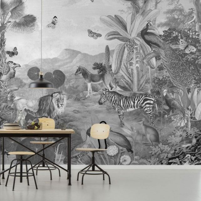 Un papier peint panoramique en noir et blanc moderne
