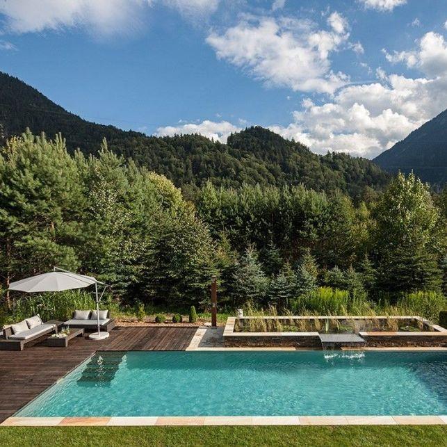 Une piscine naturelle et moderne avec une terrasse en bois