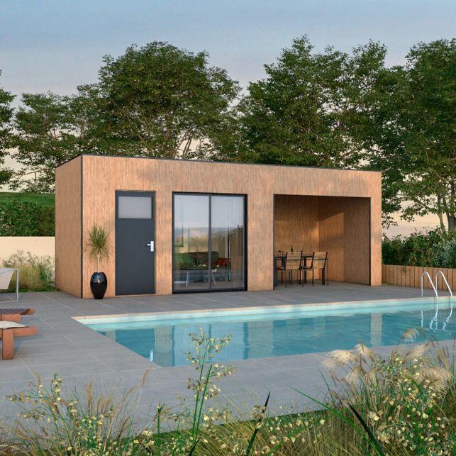 Un poolhouse en bois sur-mesure aménagé en petit salon