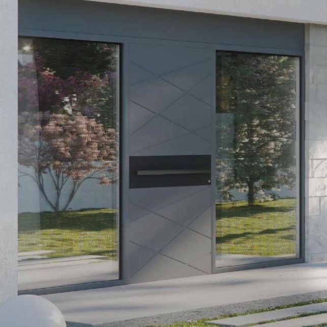 La porte design en aluminium et ses grandes vitres