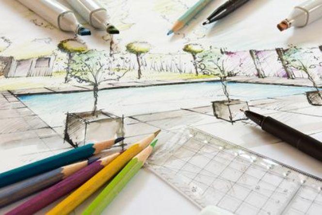 Plan d'un jardin avec piscine