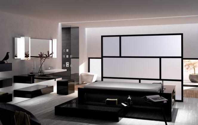 Cette salle de bain haut de gamme est conçue avec un matériau réunissant la transparence du verre, une grande durabilité et une résistance aux chaleurs extrêmes. © Toto