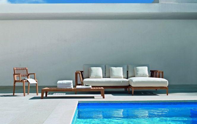 Ce ravissant petit salon de jardin haut de gamme mêle à la fois design, confort et résistance.  © Caspar