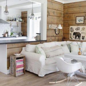 Salon scandinave blanc & bois par Marthe Holien Bo