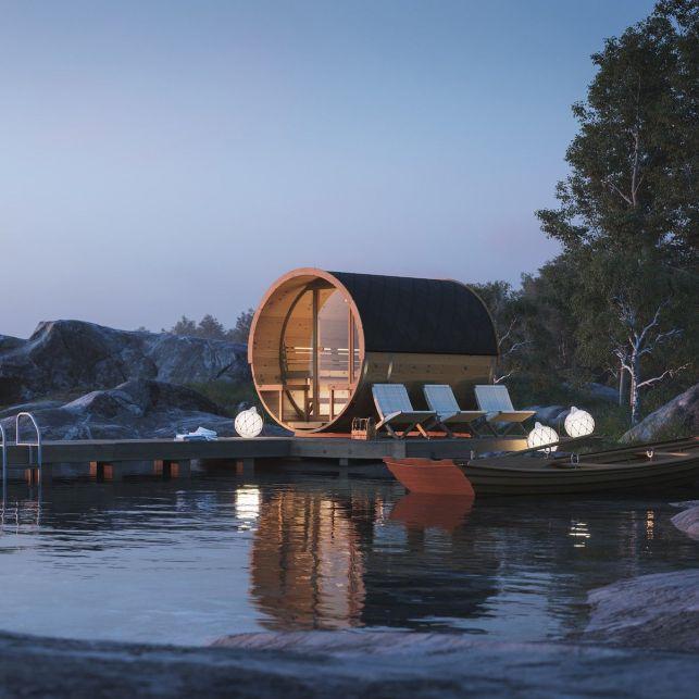 Le sauna privé d'extérieur en forme de tonneau