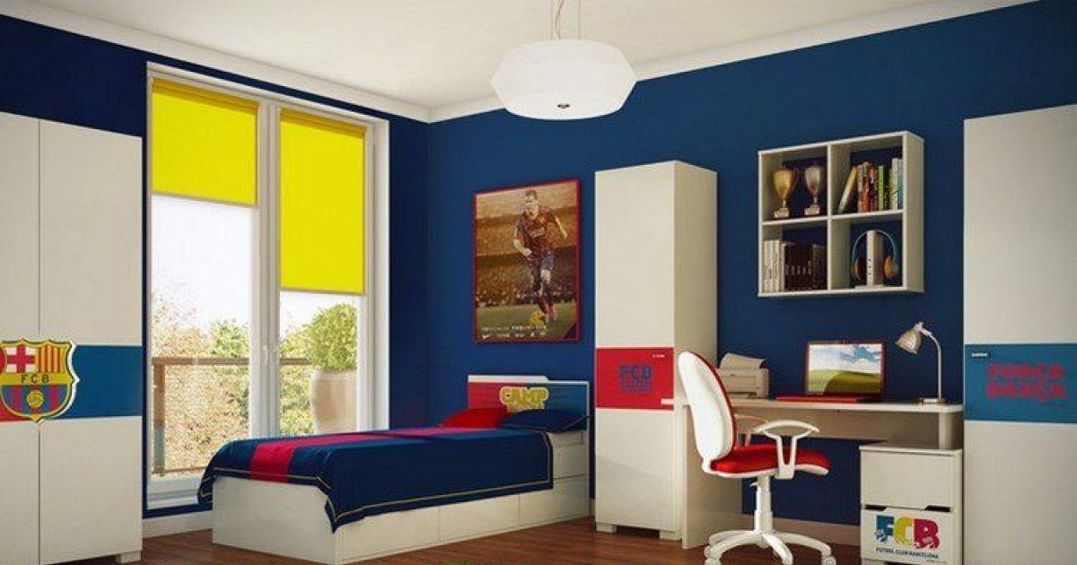 une chambre d enfant la d co football. Black Bedroom Furniture Sets. Home Design Ideas