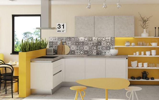 Une cuisine en L blanche et jaune !  © Cuisines Aviva