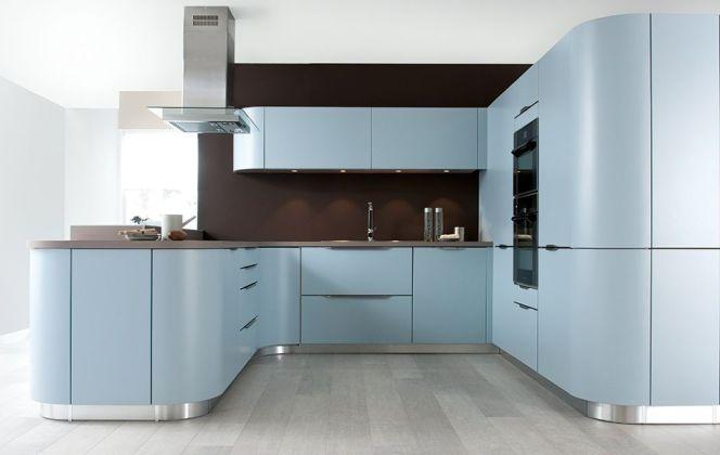 Une cuisine moderne bleue ciel...  © Cuisine Schmidt